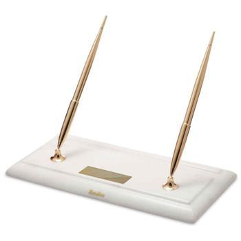 Scrikss Masa Takım Beyaz Mermer Dolma Kalem + Tükenmez Kalem Gold