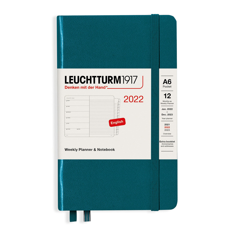 Leuchtturm1917 Weekly Planner + Notebook Pacific Green A6 363784 2022 Ajanda