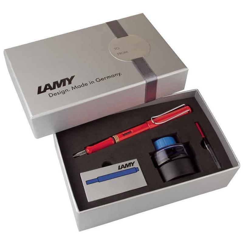 Lamy Dolma Kalem Safari Mürekkep+Kartuş+Piston Kırmızı 16Ds-M