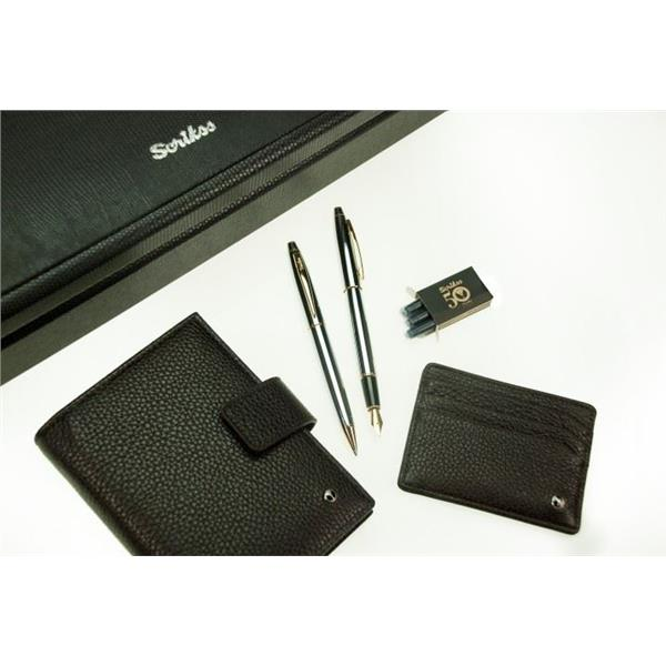 Scrikss Ajanda+Kredi Kartlık+35 Dolma Kalem+Tükenmez Kalem Set SDR-213-2