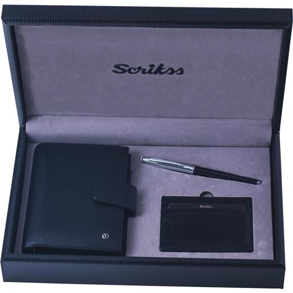 Scrikss Ajanda +Kredi Kartlık +39 Roller Kalem Set Siyah SDR-302