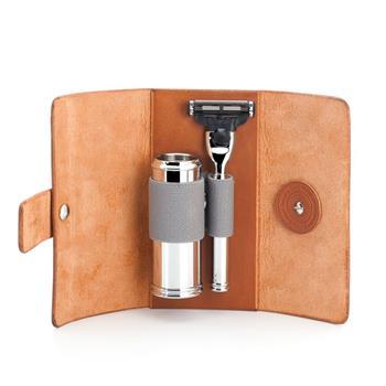 Mühle Deri Çanta İinek Derisinden Gillette ® Mach3 ® Tıraş Bıçağı ve Seyahat Fırçası RT1M3