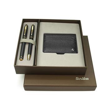 Scrikss DR241 35 Mat Siyah Altın Dolma Kalem + Tükenmez Kalem & Komfort Kredi Kartlık Siyah