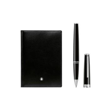 Montblanc PIX Black Rollerball Kalem ve Black Meisterstück Pasaport Kılıfı Set 123756