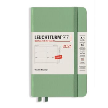 Leuchtturm1917 Weekly Planner Pocket (Kutucuklu) A6 Sage 362003 Ajanda 2021