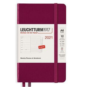 Leuchtturm1917 Weekly Planner + Notebook A6 Port Red 361860 Ajanda 2021