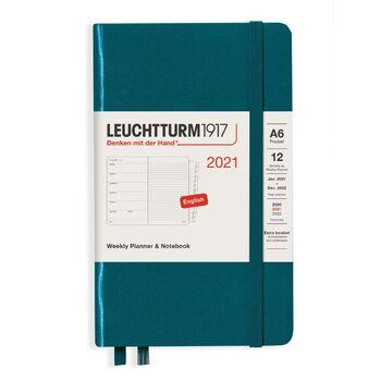 Leuchtturm1917 Weekly Planner + Notebook A6 Pacific Green 361864 Ajanda 2021