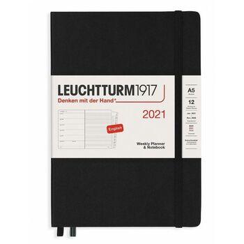 Leuchtturm1917 Weekly Planner + Notebook Black A5 361843 2021 Ajanda