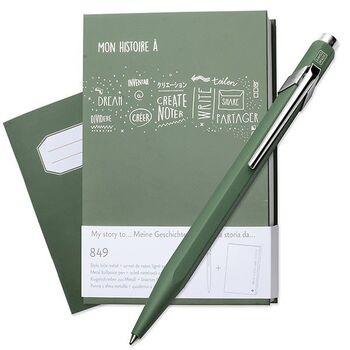 Caran d'Ache 849 Gift Set Olive Green Tükenmez Kalem + Notebook 849.116