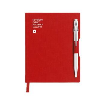 Caran d'Ache Beyaz Tükenmez Kalem & A6 Kırmızı Defter 8491.453