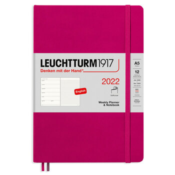Leuchtturm1917 Weekly Planner + Notebook Soft Cover A5 Berry 363789 Ajanda 2022