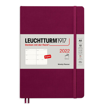 Leuchtturm1917 Weekly Planner Soft Cover With Booklet (Kutucuklu) Port Red A5 363848 2022 Ajanda