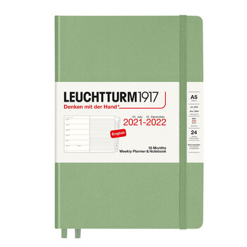 Leuchtturm1917 Weekly Planner + Notebook Sage A5 363887 2022 Ajanda 18 Aylık