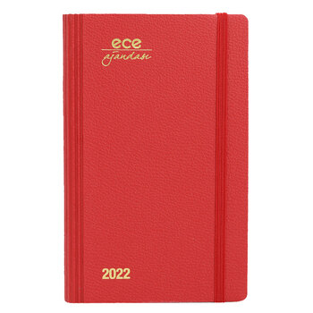 Ece Ajanda 2022 12x18 Akçay Çizgili Günlük Kırmızı